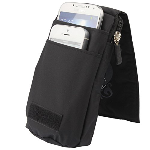 DFV mobile - Multi-functional Universal Vertical Stripes Pouch Bag Case Zipper Closing Carabiner for =>                     APPLE IPHONE SE > PURPLE (16 x 9.5 cm) Black (16 x 9.5 cm)