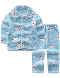 Blue Flannel Niños pijama traje de baño suave Velvet Sleepwear Nightcloth