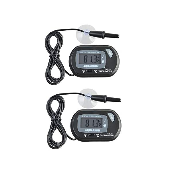 JZK 2 x Small digital aquarium thermometer with suction cups & probe & battery, water temperature gauge meter for marine…