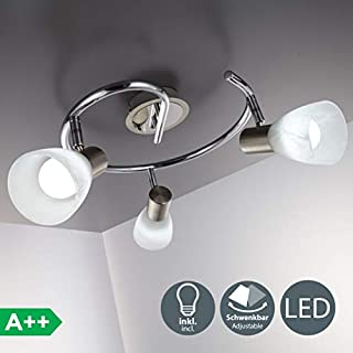 B.K. Licht LED ceiling lamp, flushlight fitting, directional spotlight, rotatable, pivotable, 3 bulbs 5,5W LED E14 incl., for livingroom & bedroom, warm white 3000K, matt-nickel / chrome, 230V, IP20