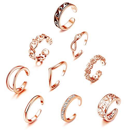 YADOCA 9 Stücke Midi Ring Sets Knuckle Ring für Damen Mädchen Mode Finger Böhmischen Vintage Stapelbar Offener Ringe