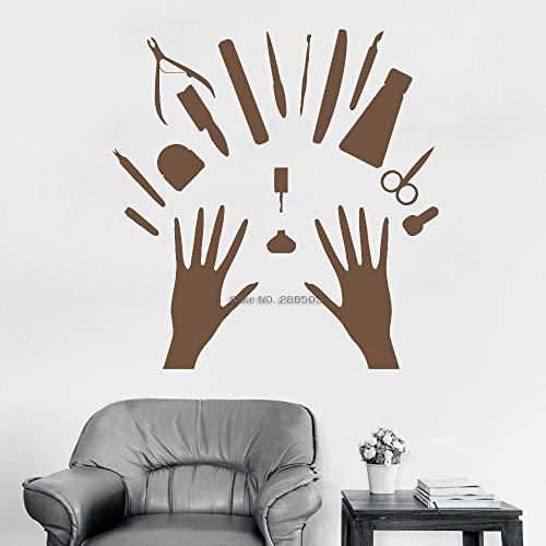 Ajcwhml Herramientas de manicura Etiqueta de la Pared Estudio de Belleza Decoración de la Ventana Calcomanía Salón de manicura Vinilo de uñas Salón de Belleza Art Poster Interior 110 cm x 115 cm
