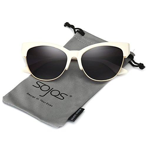 SojoS Schick UV400 Schützen Verspiegelt Katzenaugen Sonnenbrille Damen SJ2026 mit Beige Rahmen/Grau Linse