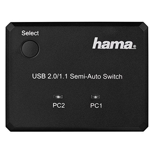 Hama USB-Datenumschalter (2 PCs, Notebooks, Laptops, an 1 USB Gerät Drucker, Scanner, externe Festplatte, USB-Hub, Kartenleser, u.v.m. anschließen, Hot-Key Funktion, unterstützt USB 2.0 und 1.1, ohne Treiber) schwarz