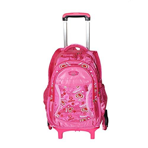 Hzjundasi bambini borsa da scuola con ruote borsa a tracolla - con heightened sei ruote salire le scale - trolley zaino per ragazze kids bambini (rosa caldo)