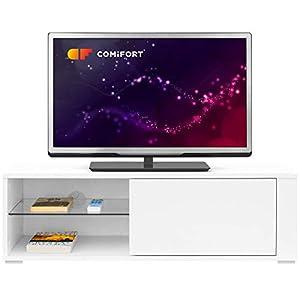 COMIFORT TV-Möbel – Moderner Wohnzimmertisch, Tür mit klick-System, Regalboden aus Hartglas, Sehr Stabil, Farbe: Eiche