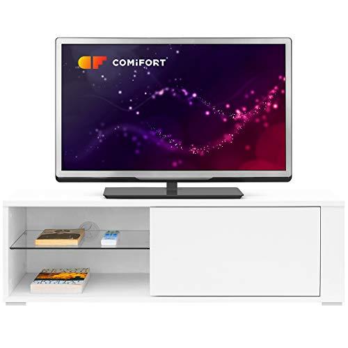 Comifort TV80B – Mueble TV Salón Moderno Mesa Televisión, Colores: Blanco, Madera De Roble, Blanco/Roble, 100x36x32 Cm (Blanco)