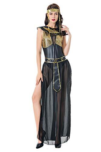 Bilicos Damen Cleopatra Kostüm Schwarz Sexy Altägyptischen Pharao Kleidung Halloween Party Cosplay Ägypten Königin Langes Kleid Schwarz M (Sexy Pharao Kostüm)
