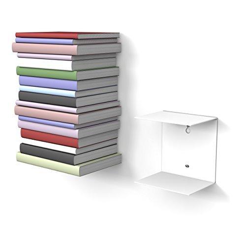 1 weißes unsichtbares Bücherregal mit 2 Fächern für Bücher bis zu 22 cm Tiefe.