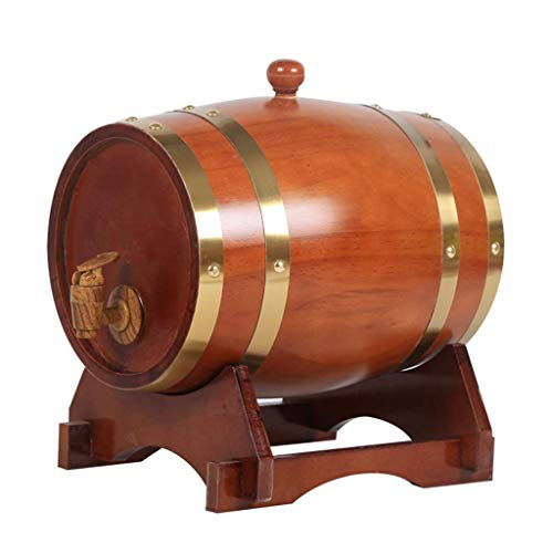 MY1MEY 3L Oak Barrel, Real Wooden Barrel Containing Aluminum Foil Liner for Storing or Brewing Wine Whiskey Spirits (Color : Brown, Size : 3L)