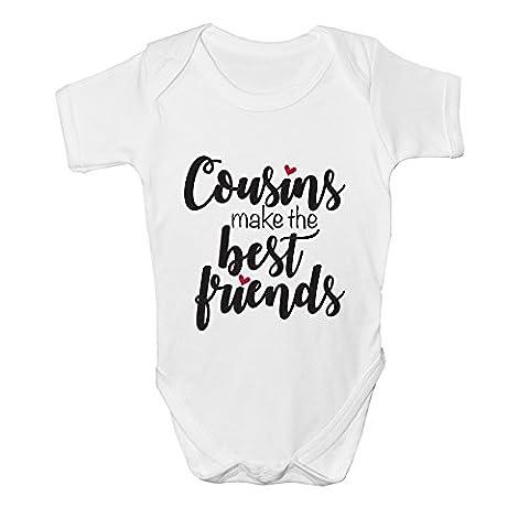 Cousins Make The Best Friends Baby Grow Bodysuit Vest Girls Boy New Arrival Gift (0 - 3 Months, Black