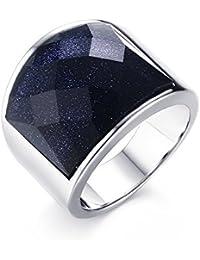Anillo de acero inoxidable envejecido, alianza con gema tallada en grava de color azul, anillo para hombre plateado