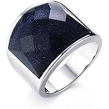 Vnox Acciaio inossidabile Antico Wedding Band ghiaia blu argento sfaccettato pietra preziosa anello uomini gioielli