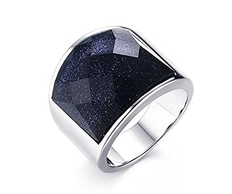 Vnox Stainless Steel Antique Wedding Band Blue Gravel Faceted Gemstone Ring Men Jewelry Silver UK Size T 1/2
