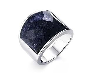 Vnox Acciaio inossidabile Antico Wedding Band ghiaia blu argento sfaccettato pietra preziosa anello uomini gioielli,Dimensione 25