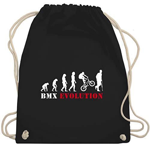 Shirtracer Evolution - BMX Evolution Verletzung - Unisize - Schwarz - WM110 - Turnbeutel und Stoffbeutel aus Bio-Baumwolle