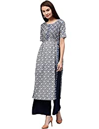 [Sponsored]Jaipur Kurti Women's Indigo Cotton Straight Fit Long Kurta With Embroidery (Indigo)