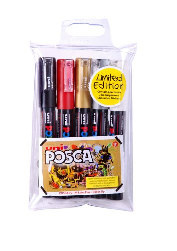 uni-ball-posca-pc-1m-extra-fine-bullet-tip-markers-assorted-colours-pack-of-5