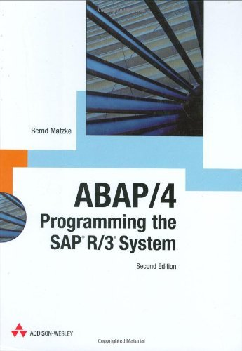ABAP/4: Programming the SAP R/3 System by Bernd Matzke (2000-12-10) par Bernd Matzke