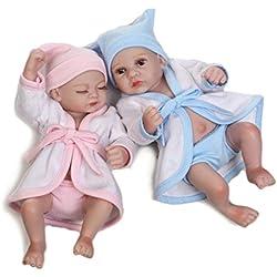 "Terabithia Mini 10"" Alive Reborn Baby Dolls Gemelos Recién Nacido Silicona Full Body"