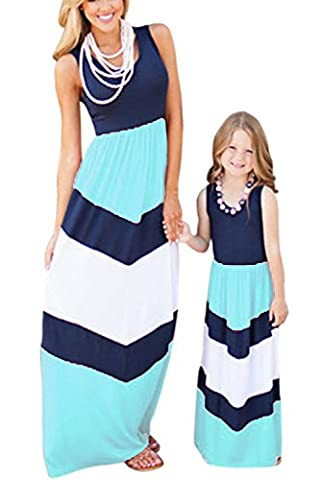 WIWIQS Summer Casual Mommy and Me Boho Striped Chevron Maxi Dresses(Blue,7-8T)