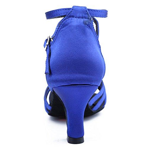 HIPPOSEUS Scarpe da Ballo Latino Satinato da Donna, Scarpe da Ballo, Modello WZJ-CL blu-BDJ-7