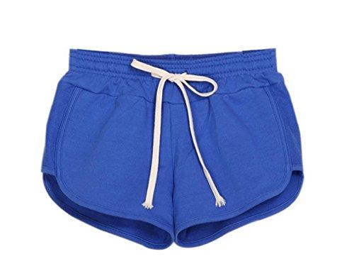Y-BOA 1Pc Short En Coton Femme Taille L Sport/Mince Bleu