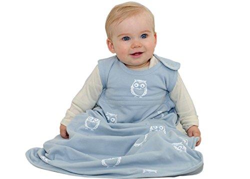 Merino Kids Schlafsack aus Baumwolle, Eule für Babys, 0-2 Jahre, Himmel