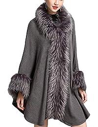 HANMAX Cape d hiver Femme à Capuche en Fourrure Fausse Manteau de Laine  Manches Longue 1b887b7eeb7