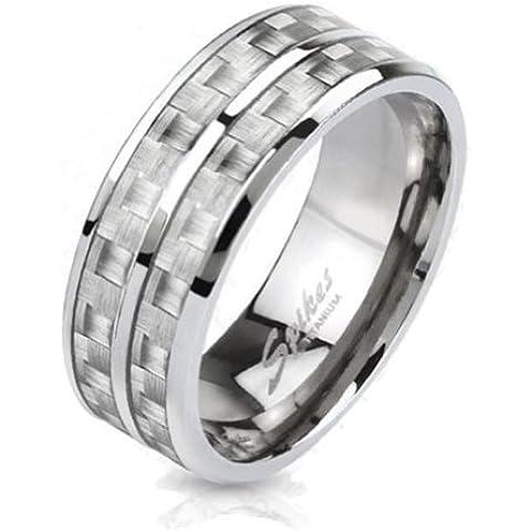 Paula & Fritz® Solider Titanio Anillo Plata Carbon W Inlay Ring tamaños: 53(17)–69(22) R de ti de 4371