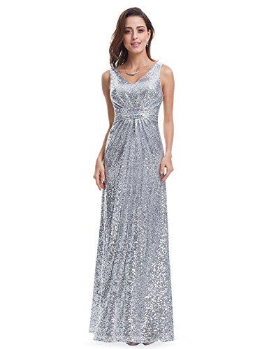 Ever Pretty Lang Pailletten Elegant Partykleid Cocktailkleid Abendkleid 36 Silber - 5
