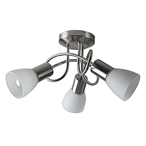 Modern 3 Way Brushed Chrome Flush Curved Swirl Arm Ceiling Light With Beautiful Frosted Opal Glass
