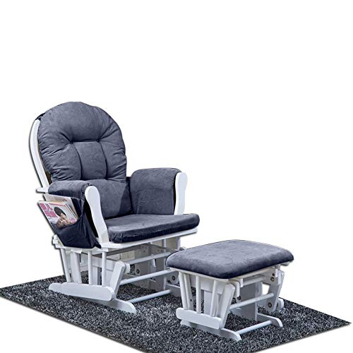 Zerone Schaukelstuhl Set Sitzkissen Sitzkissen gepolstert Baumwolle Decke Schaukelmatte Relaxaion mit Fußablage Seitentasche - Hocker Gepolsterte Schaukelstuhl