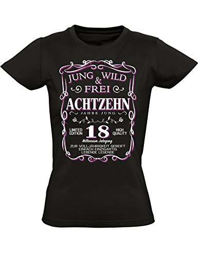 Geburtstags Shirt: 18 Jahre Jung Wild & Frei - Jahrgang 2001 - Achtzehn-TER Geburtstag T-Shirt - Geschenk zum 18. - Damen - Frau - Frauen - Mädchen - Freundin - Birthday - Tailliert (L)