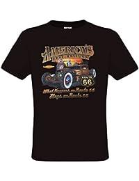 Ethno Designs - Americas Highway 66 - Hot Rod T-Shirt pour Hommes - Old School Rockabilly Vintage Retro Style - regular fit
