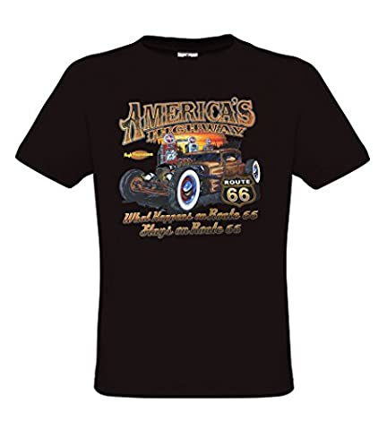 Ethno Designs - Americas Highway 66 - Hot Rod T-Shirt pour Hommes - Old School Rockabilly Vintage Retro Style - regular fit, noir, taille L