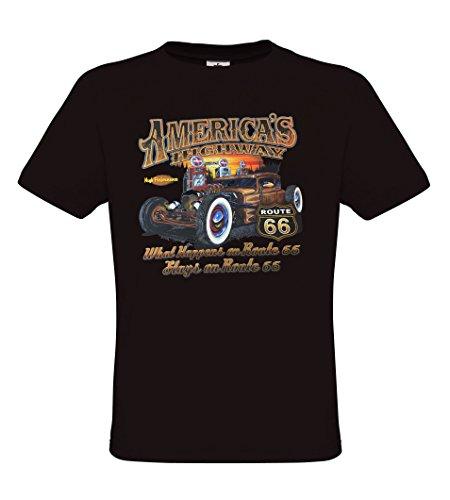 Highway Route 66 Hot Rod (Ethno Designs - Americas Highway 66 - Hot Rod T-Shirt für Herren - Old School Rockabilly Retro Style - Regular fit, Black, Größe L)