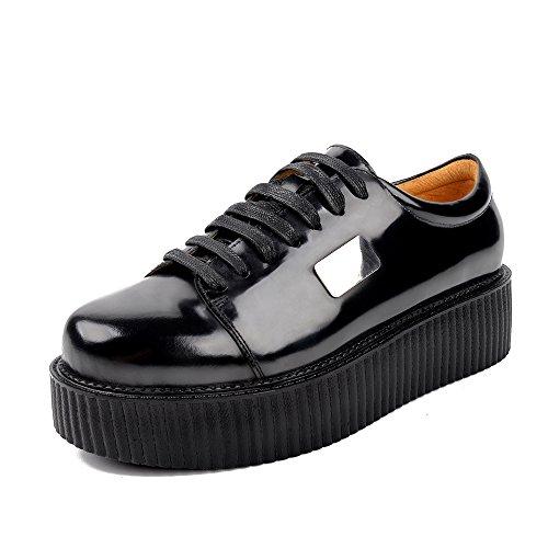 Herren Leder Oxfords Flache Platform Schnürhalbschuhe Punk Creepers Schuhe 38