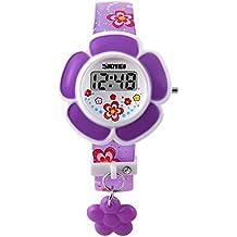 SKMEI - Reloj Digital LED Infantil Reloj Electrónico de Cuarzo Forma de Flor para Niñas Estudiantes