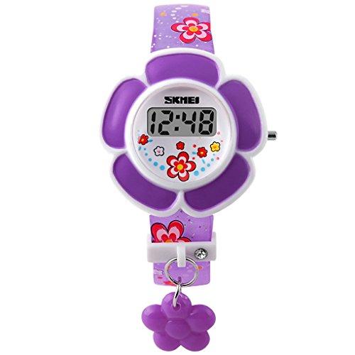 SKMEI - Reloj Digital LED Infantil Reloj Electrónico de Cuarzo Forma de Flor para Niñas Estudiantes Reloj Princesa Correa de PU Estampado de Flores - Violeta