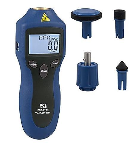Instrument de mesure de régime PCE-DT 65 pour une mesure sans contact par laser ou embout mécanique