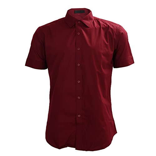 Sodial(r) nuova moda uomo camicie manica corta camicie estive - vino rosso xl