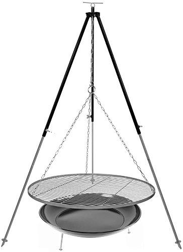 Dreibein Schwenkgrill Grillrost Edelstahl 80 cm 1,8 m Kettenhöhenverstellung und Feuerstelle