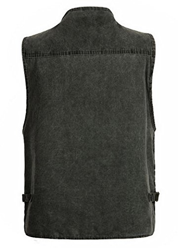 Aitalk Herren Weste Ärmellos Westen Zip Up Sport Outwear mit Reißverschluss Outdoor-Weste Baumwolle Jacke mit Vielen Praktischen Taschen Größe XL - Größe/Farbe Wählbar Grau