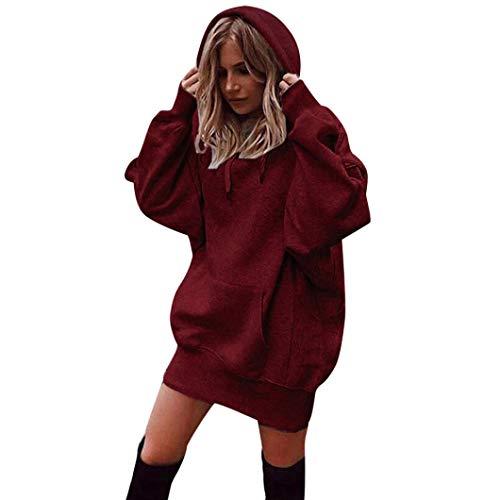 OYSOHE Damen Pullover Normallack Hoodies Tasche Baumwolle Lang Sweatshirt Pullover(Rot,L)