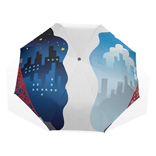 Reiseschirm Asien Japan Tokyo Tower Anti Uv Compact 3-Fach Kunst Leichte Faltschirme (Außendruck) Winddicht Regen Sonnenschutzschirme Für Frauen Mädchen Kinder -