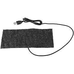 Tapis Chauffant en Fibre de Carbone, USB 5V Couverture Chaude de Tapis de Réchauffeur de Main 20 × 10 cm (Noir)