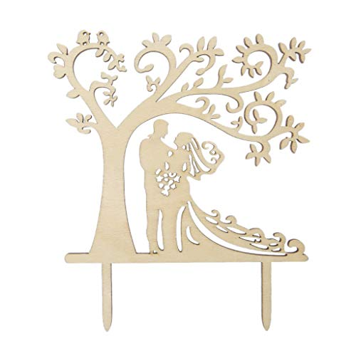 Wanfor personalisierte rustikale hölzerne Hochzeitstorte Topper Herr & Frau Silhouette Tree Decor, Küche Backzubehör