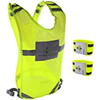 Firefly Buddy Great Reflective Vest for Running, Cycling, Biking, Walking with FREE Arm Bands. Best Safety Gear for Men & Women Outdoor Activities