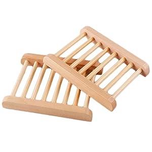 Doitsa – Juego de 2 creativos jaboneros de madera hechos a mano, color madera
